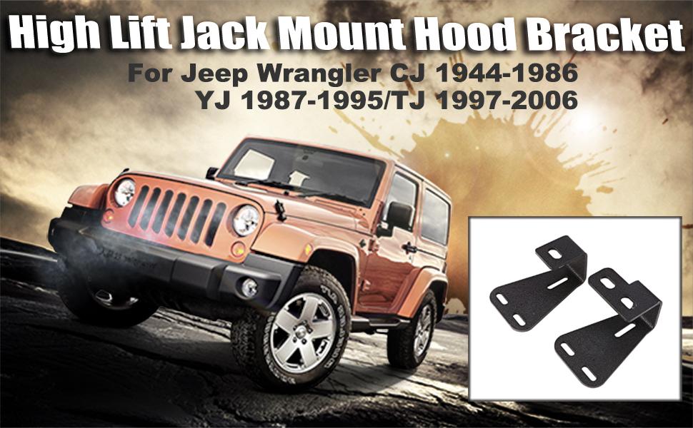 High Lift Jack Mount Hood Bracket Fits for For Jeep For Wrangler CJ 1944-1986// YJ 1987-1995//TJ 1997-2006 Pair Black