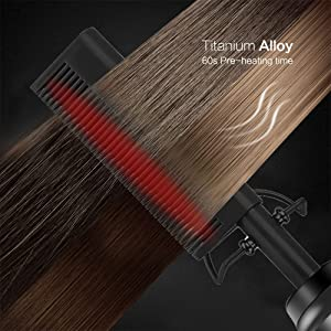 Hot Comb Electric Hair Straightener Multifunctional Copper Brush for Wet and Dry Hair