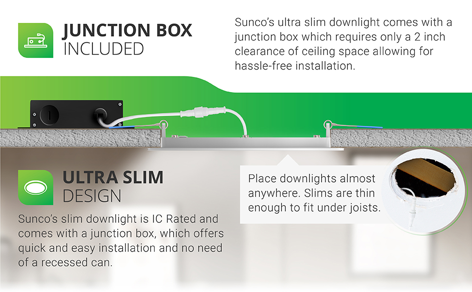 4 Inch Slim LED Downlight with Junction Box, Recessed Jbox Fixture, Simple Retrofit Installation