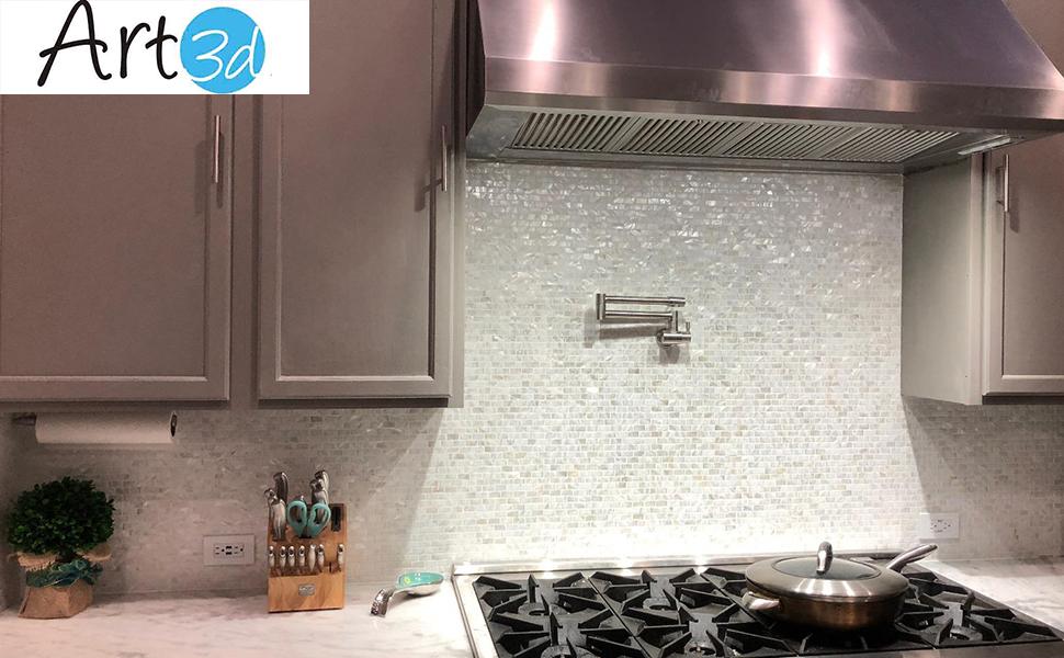 Art3d 6 Pack Mother Of Pearl Shell Mosaic Tile For Kitchen Backsplashes Bathroom White Subway Tiles Amazon Com