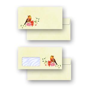 10 Stück DIN LANG Motiv-Briefumschläge VOGELGEZWITSCHER ohne Fenster