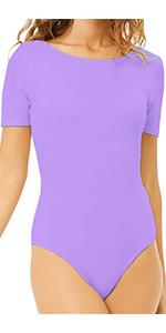 MANGDIUP Women's Round Collar Short Sleeve Elastic Bodysuits(Lavender Purple)