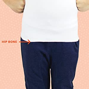 The length of the Compresso-T should reach your child's hip bone.