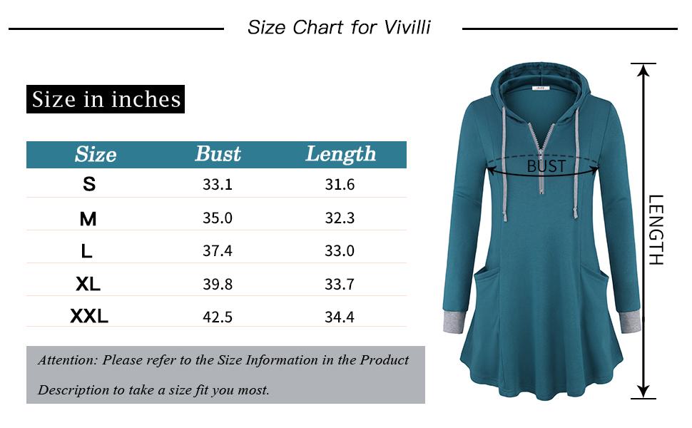 Vivilli Women's Thin Tunic Hoodies Long Sleeve Zip Up Sweatshirts Pullover Blouse Tops