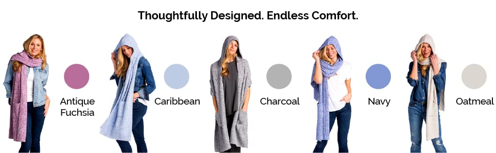 Softies, marshmallow hooded scarf, hooded scarf, antique fuchsia, caribbean, charcoal, navy, oatmeal