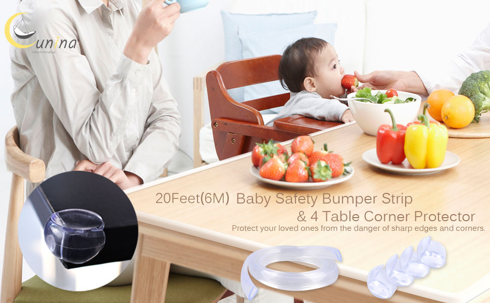 Transparent 20ft Baby safety Table Edge Bumper Strip  Corner Protector & 4 Pack Baby Corner Guards