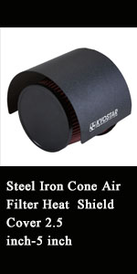 """Steel Cone Air Filter Heat Shield Air Intake Filter Cover for 2.5-3.5"""" Cone Filter"""