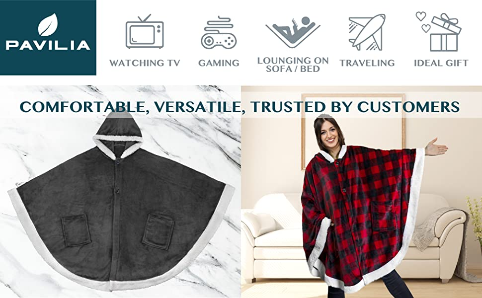 pavilia snuggie blanket for watching tv gaming lounging on sofa couch bed traveling and gift