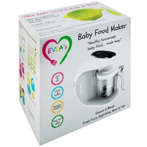 Baby Shower Gift - Baby Food Maker   Baby Food Processor Blender Grinder Steamer   Cooks & Blends Healthy Homemade Baby Food In Minutes   Self Cleans   Touch Screen Control   6 Reusable Food Pouches