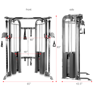 A front and side view of the XMark functional trainer showing space saving design and measurements