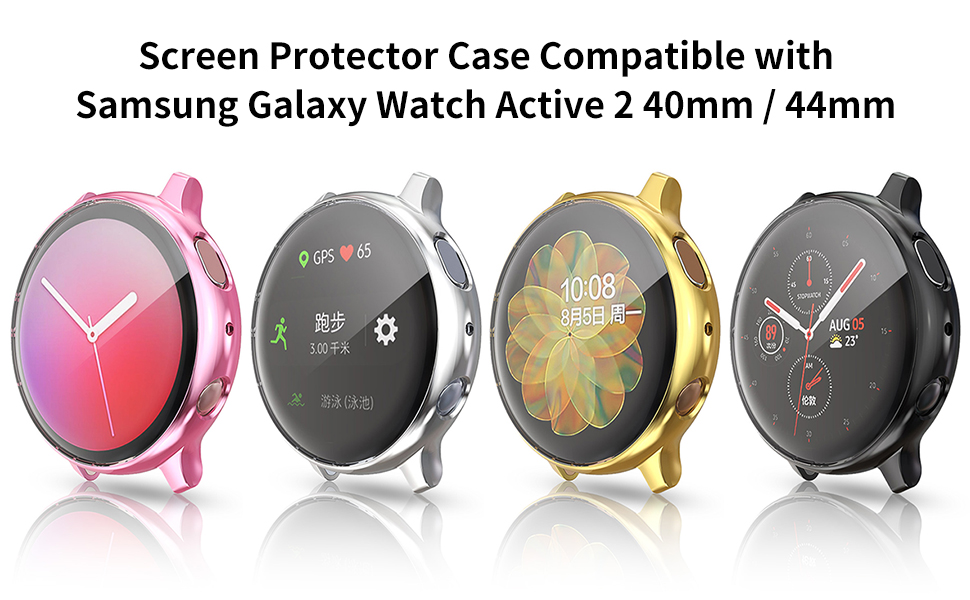 Screen Protector Case Compatible with Samsung Galaxy Watch Active 2 40mm 44mm Cover Accessories