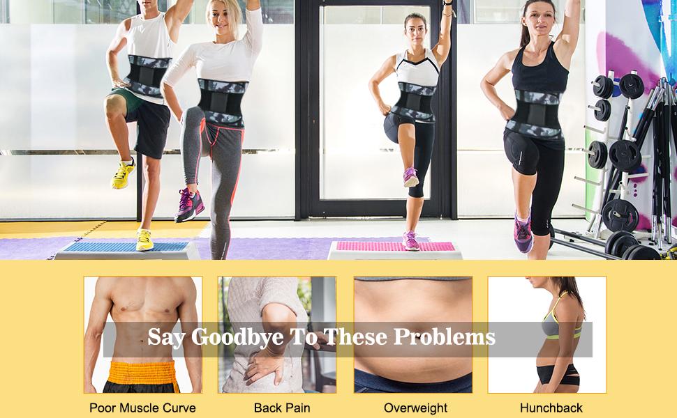 Sauna Waist Trimmer, Sweat AB Belt with Adjustable Pressure Straps, Weight Loss Back Support Belt