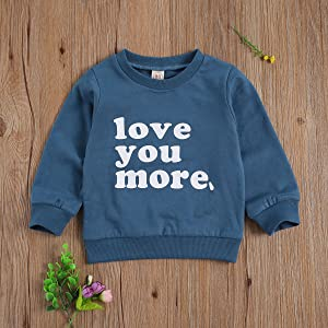 Toddler Baby Boy Girl Crewneck Sweatshirt Top Newborn Love You More Shirt Pullover Long Sleeve Baby Valentine s Day Clothes