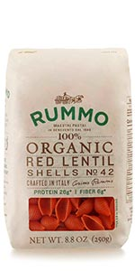 Organic Red Lentil Vegan Pasta Shells