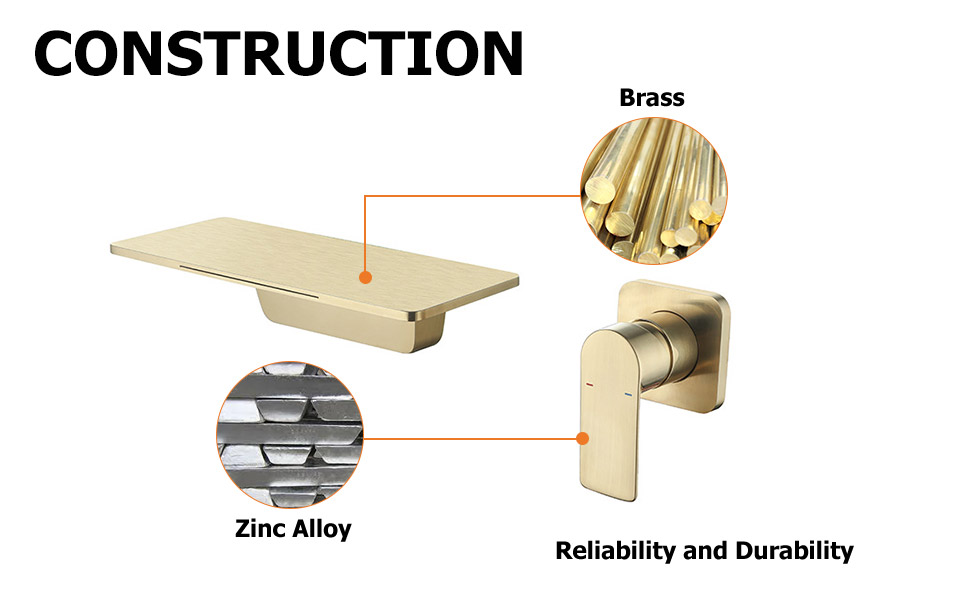 Waterfall sink faucet brushed gold combo mixer tap
