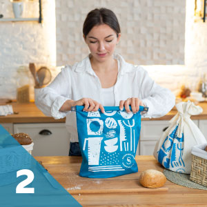 fold and close rpet plastic bread bag to keep bread fresh for 3 months