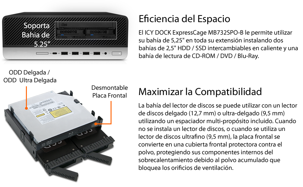 Icy Dock ExpressCage MB732SPO-B Blackplane Cage para 2 x 2.5 HDD ...