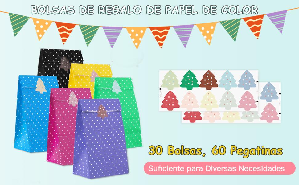 Hommie 30pcs Bolsa Papel de Regalo, Bolsas Papel Niños con 60 Pegatinas, 6 Colores, Bolsas Regalo de Cumpleaños Niño, Fiesta, Pascua, Boda, ...