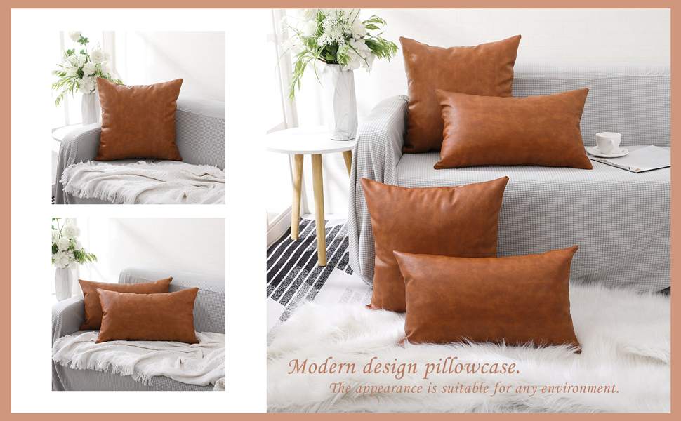 Faux Leather Farmhouse Throw Pillow Cover