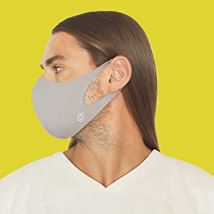 man wearing mask fitted adjustable breathable grey blue yellow solid