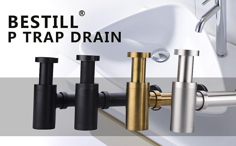 Bestill Brass Bottle P Trap Drain Kit For Bathroom Basin Sink Brushed Nickel Amazon Com