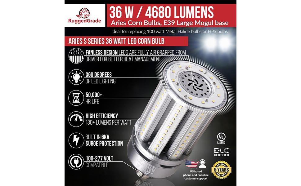 36 Watt Led Corn Light Bulb 4680 Lumens Aries S Series Led Corn Light Bulb Mogul E39 Base 5000k Replacement For 125 175 Watt Hid Hps Metal Halide Or Cfl