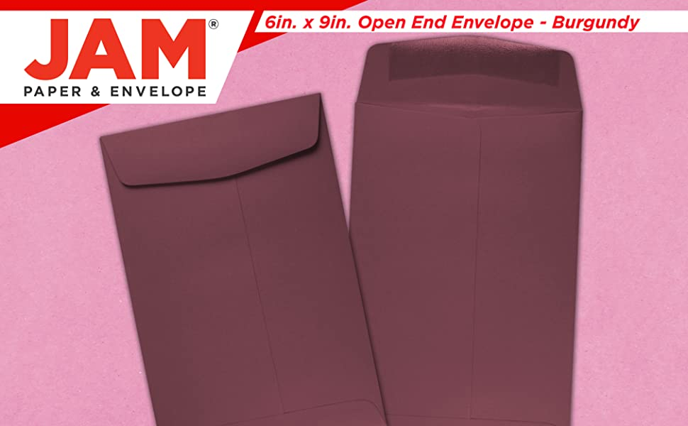 burgundy 6 x 9 open end colored envelope