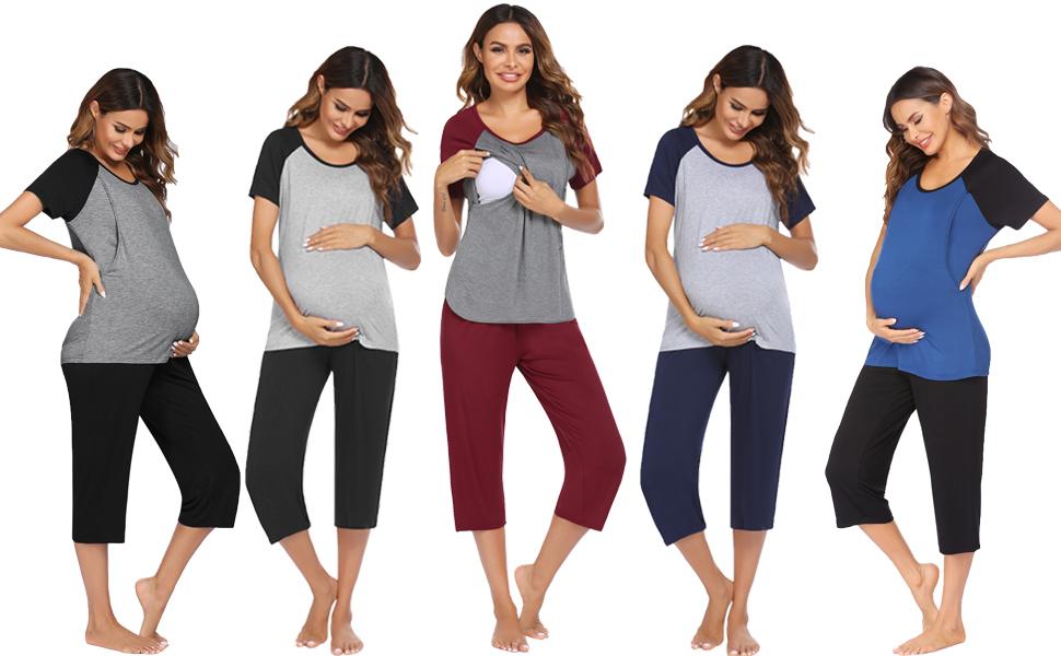 Pregnancy Pajamas Breastfeeding for Hospital Set Breast Feeding Loungewear Nursing Shirts