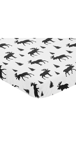 Black and White Woodland Moose Baby Boy Fitted Mini Portable Crib Sheet for Rustic Patch