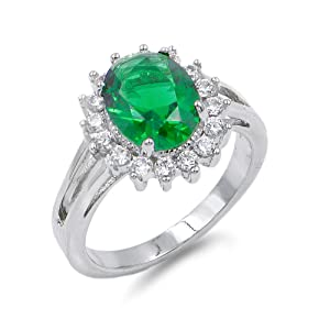 Lavencious Oval Shaped w.CZ  Party Rings in Green