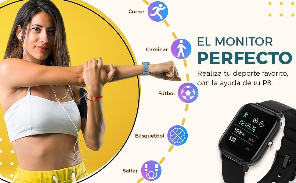 P8, BINDEN, Smartwatch, Smartwatchp8, Reloj inteligente, Deporte, Monitor,