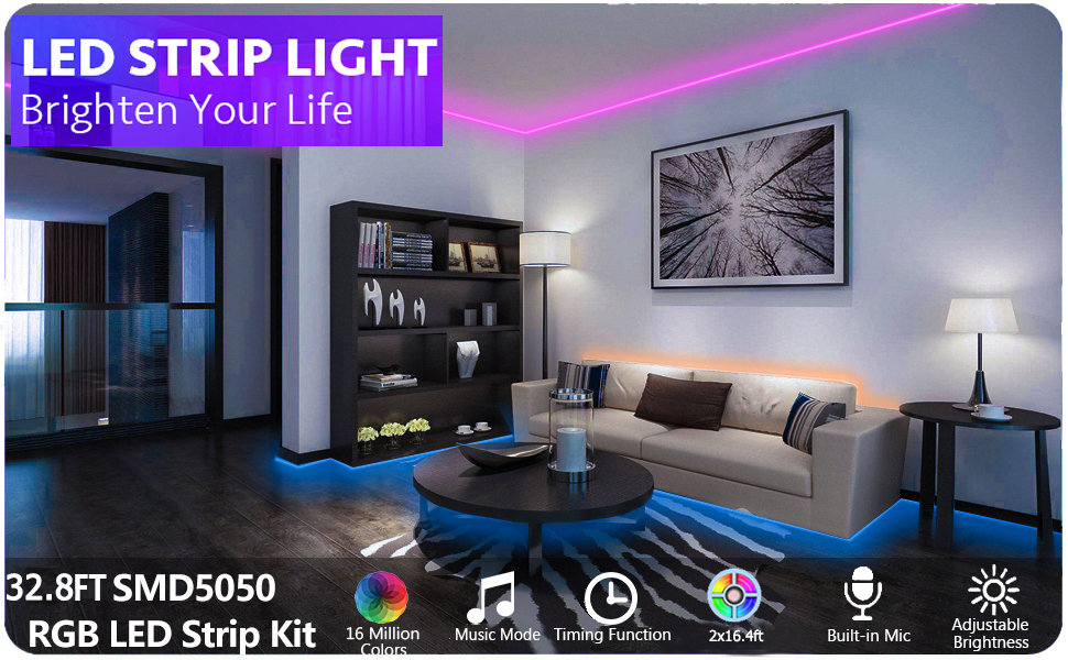 Bluetooth LED Light Strip- Indoor 12V Power Supply RGB LED Strip Lights 32.8ft Bluetooth Controlled