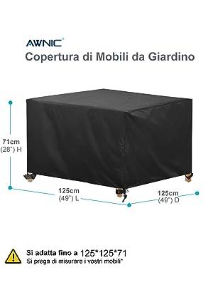 Nero Copertura per Mobili da Giardino Size : 120x120x74cm Rettangolare Tessuto Oxford 420d Impermeabile//Antivento//Anti-UV//Antipolvere Telo Poliestere per Mobili Esterni Tavolo