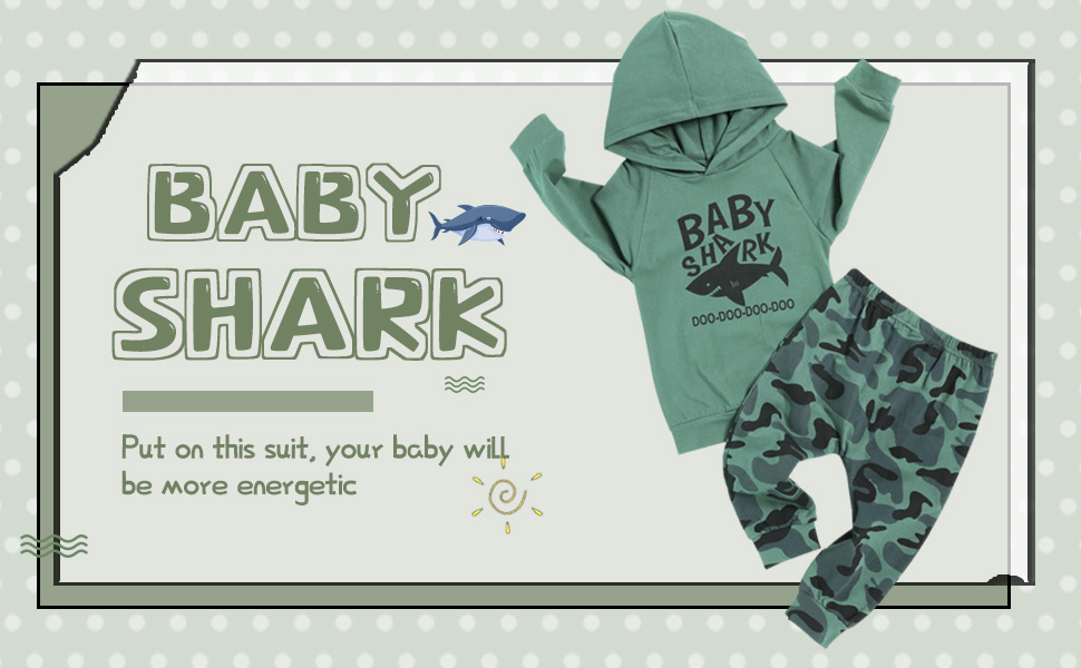 Pants Outfits Set Toddler Baby Boys Shark Clothes Long Sleeve Tops T-Shirt
