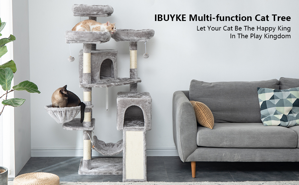 Perches UCT012 IBUYKE Cat Tree Tower Condo Cat Play Furniture 46.5 with Sisal Scratching Posts and Laddder Light Gray Smoky Gray Beige Basket for Pet Cat Kitten Cat House Dangling Balls
