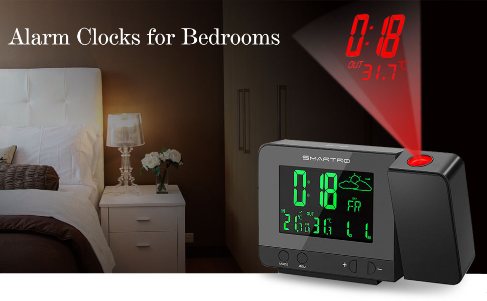 Amazon Com Smartro Sc31b Digital Projection Alarm Clock With Weather Station Indoor Outdoor Thermometer Usb Charger Dual Alarm Clocks For Bedrooms Ac Battery Operated Kitchen Dining