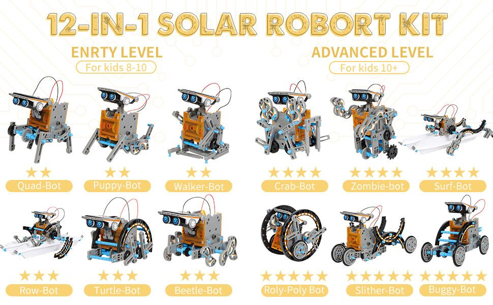 12 - CIRO STEM Projects | 12-in-1 Solar Robot Toys, Education Science Experiment Kits For Kids Ages 8-12, 190 Pieces Building Set For Boys Girls