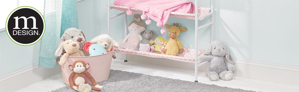 baby kid children nursery bedroom toddler pink gray dresser closet stuffed animal plastic divider