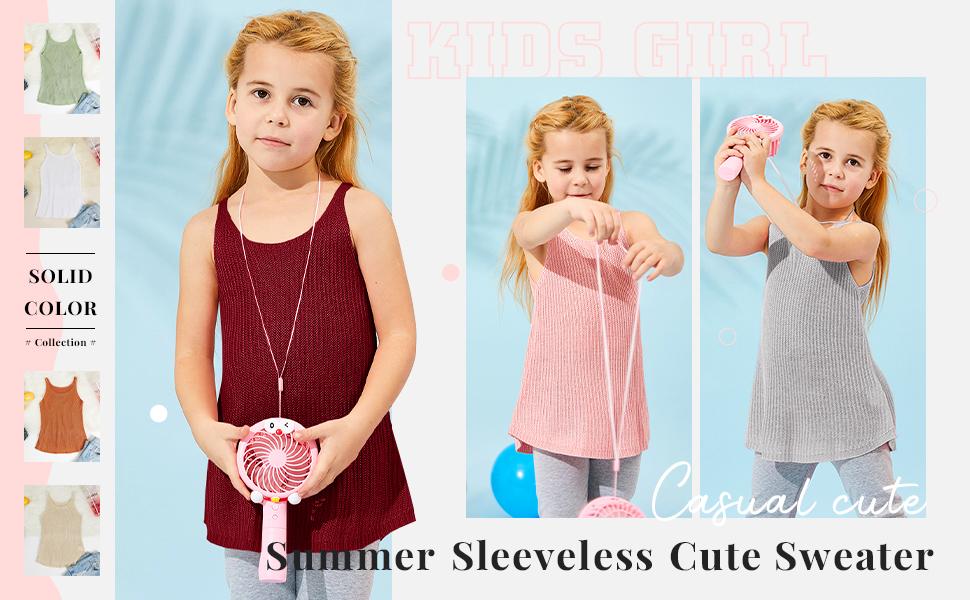 Kids Girls Knit Plain Scoop Neck Sleeveless Sweater Vest