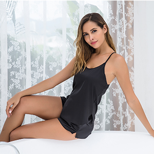 Ekouaer Satin Pajamas Set Silk Sleepwear Cami Nightwear Sexy Lingerie PJ
