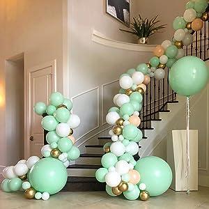 mint balloons,white balloons,gold balloons