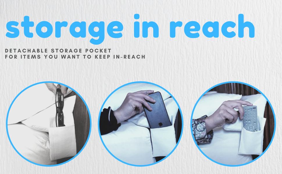 storage in reach remote storage phone storage glasses storage fill gap