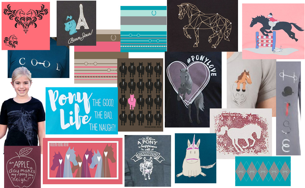 A collage of about 25 images of the artwork on the graphic tees available.
