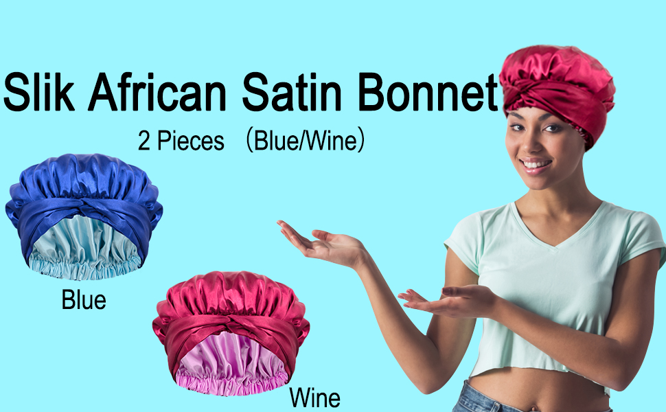Package includes 2 pieces different colors satin bonnets in navy and burgundy for black Women