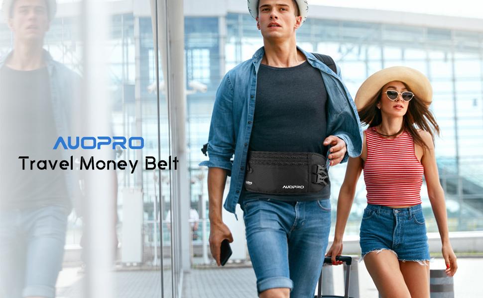 Amazon.com : AUOPRO RFID Blocking Travel Money Belt Hidden Zipper ...