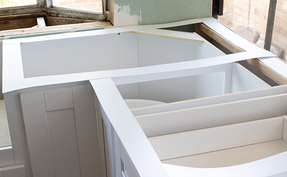 Cabinet templated with MaxTite plastic template system