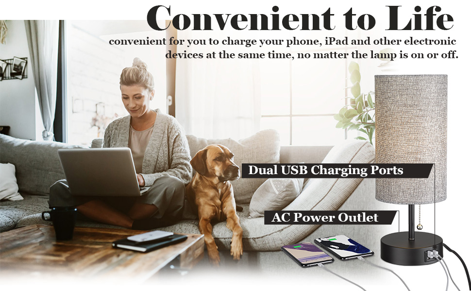 Dual USB Charging Ports amp; 2-Prong AC Outlets