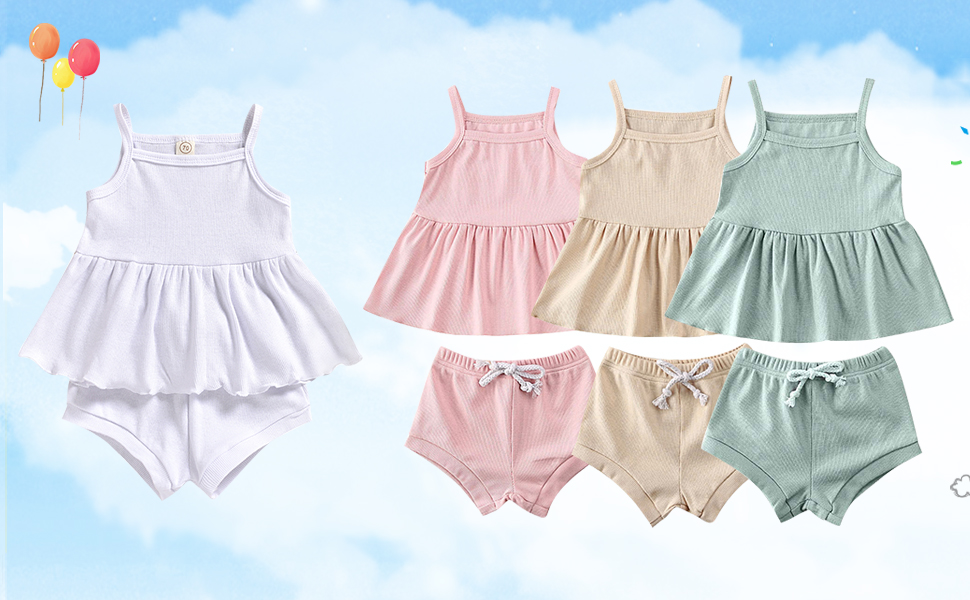 baby girl summer clothes 12-18 months beige sleeveless outfits 0 3 6 9 12 18 24 months shorts sets