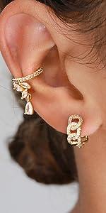 cz link huggie earrings