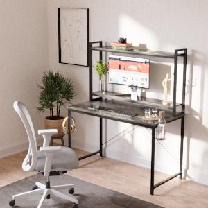 Bestier computer desk with adjustable hutch